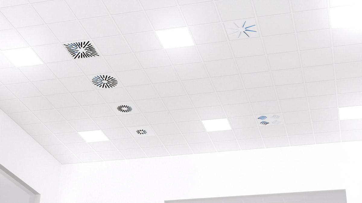 Diffuseurs UV dans le plafond pour contrer la propagation de la COVID-19 par les systèmes de ventilation