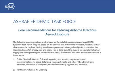 Recommendations de la ASHRAE Epidemic Task Force pour réduire l'exposition aux aérosols et les infections aéroportées