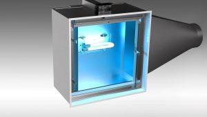 Plénum de Diffuseur UV avec lampe UV-C et collet conique